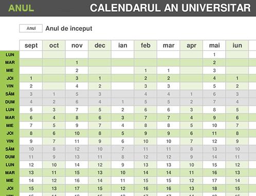 Calendar pentru anul universitar
