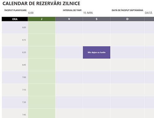 Calendar de rezervări zilnice