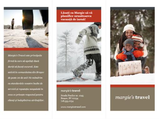 Broșură turistică dispusă pe trei pagini (proiect cu roșu și gri)