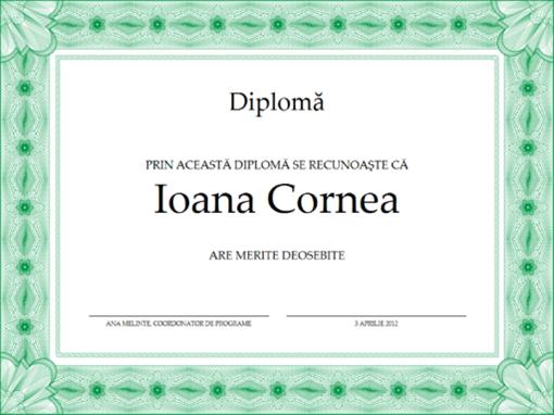 Diplomă (verde)