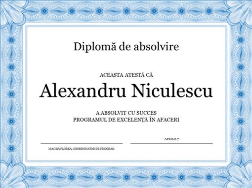 Certificat de participare (albastru)