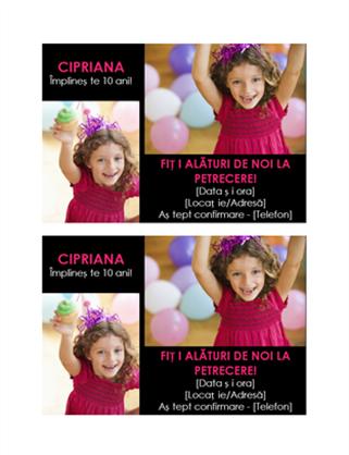 Carte poștală cu o invitație la petrecere aniversară
