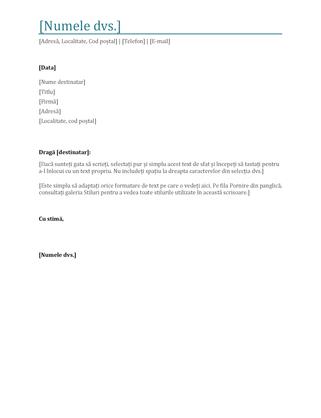Antet de scrisoare cu caractere aldine