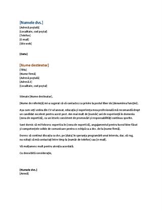 Scrisoare de intenție pentru un CV funcțional (se potrivește cu un CV funcțional)