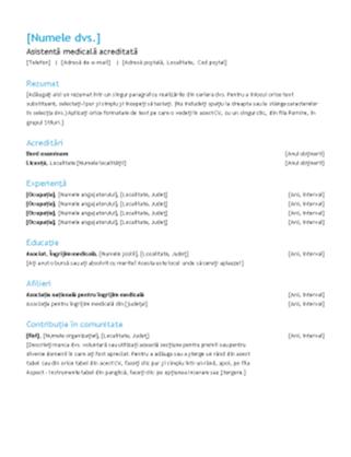 CV de asistentă medicală acreditată