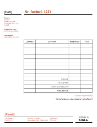 Factură pentru firme (proiect roșu și negru)
