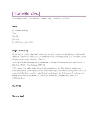Scrisoare de intenție pentru CV (violet)