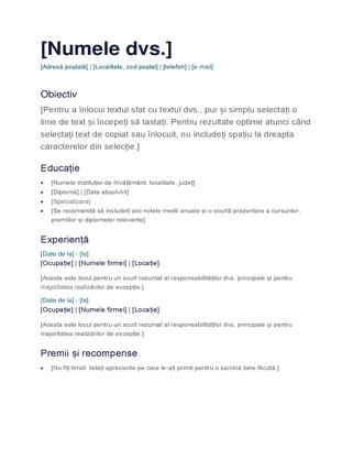CV simplu