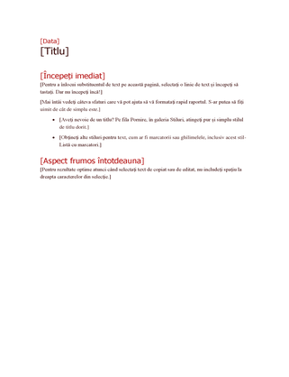 Schiță plan de proiect cu caractere aldine