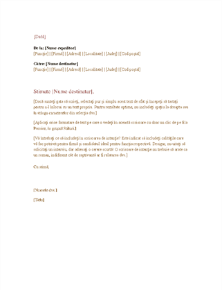 Scrisoare de afaceri oficială