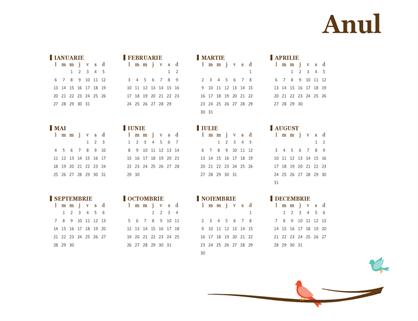 Calendar anual 2018 (luni-duminică)