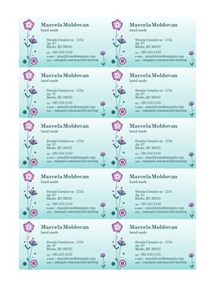 Cărți de vizită (ilustrație cu floare, 10 pe pagină)