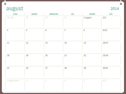 Calendar școlar 2014-2015 (august-iulie)