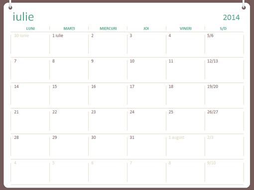 Calendar școlar 2014-2015 (iulie-iunie)