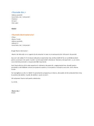 Scrisoare de intenție funcțională pentru CV (se potrivește CV-ului funcțional)