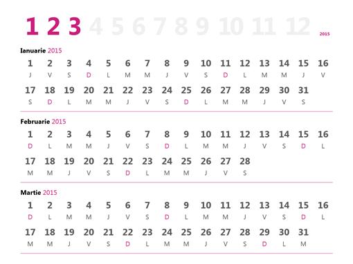 Calendar trimestrial 2015