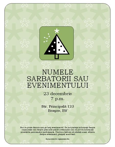 Foaie volantă eveniment sărbătoare (cu copac verde)