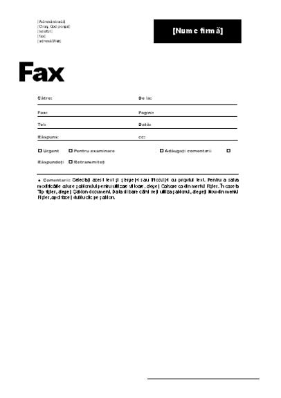 Copertă pentru fax (temă profesională)