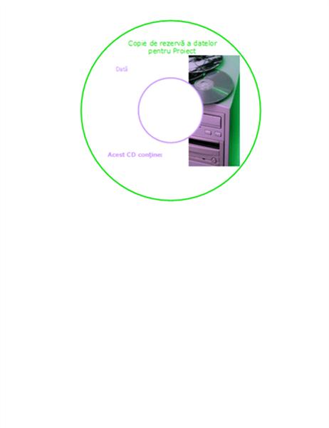 Etichete pentru fața CD-urilor cu copii de rezervă a datelor
