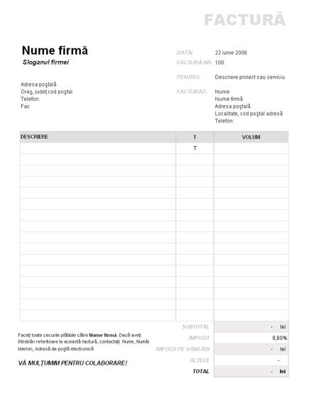 Factură cu impozit pe vânzări aplicat parțial