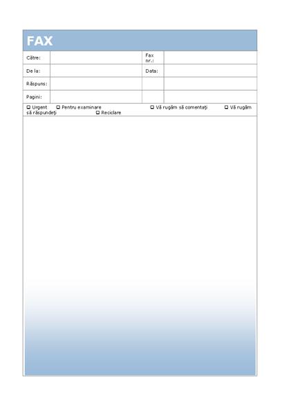Copertă pentru fax (temă cu degrade albastru)