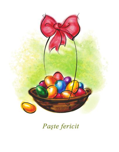 Felicitare de Paște (cu coș cu ouă)