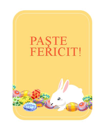Felicitare de Paște (cu iepuraș și ouă)
