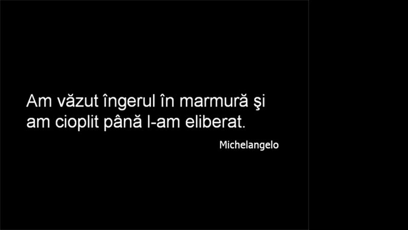 Diapozitiv cu un citat din Michelangelo