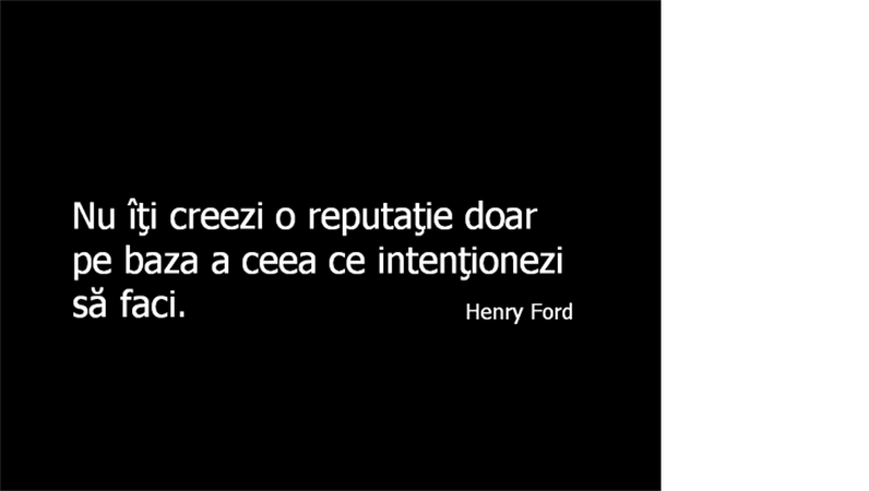 Diapozitiv cu un citat din Henry Ford
