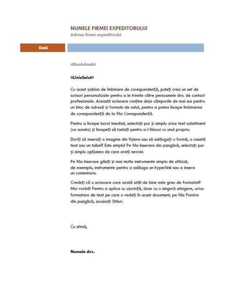 Scrisoare pentru îmbinarea corespondenței (tema Median)