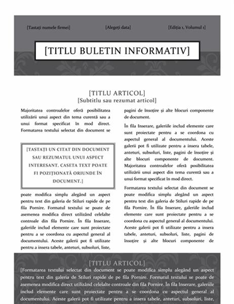 Buletin informativ (model Ținută oficială)