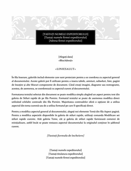 Scrisoare pentru îmbinarea corespondenței (model Ținută oficială)
