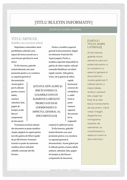 Buletin informativ (model Farmacie)