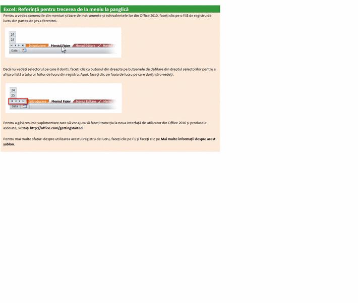 Excel 2010: Registre de lucru de referință pentru trecerea de la meniuri la panglică