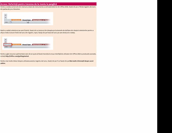 Access 2010: Registre de lucru de referință pentru trecerea de la meniuri la panglică