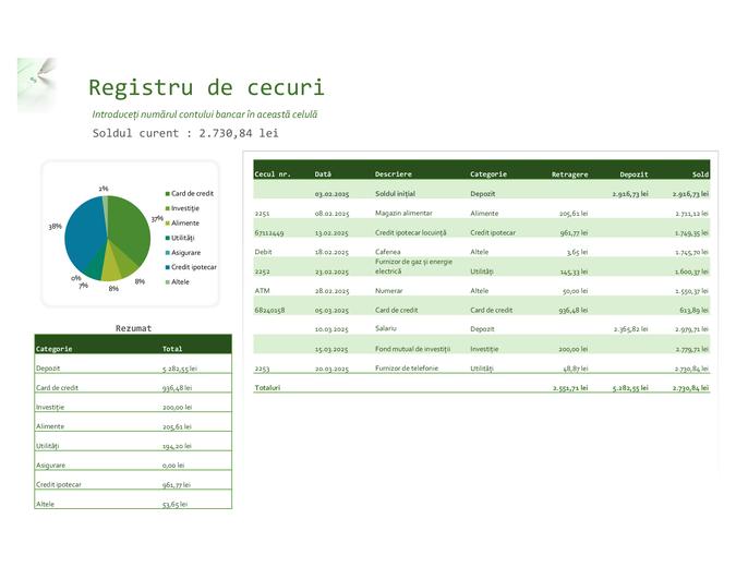 Registru de cecuri cu diagramă