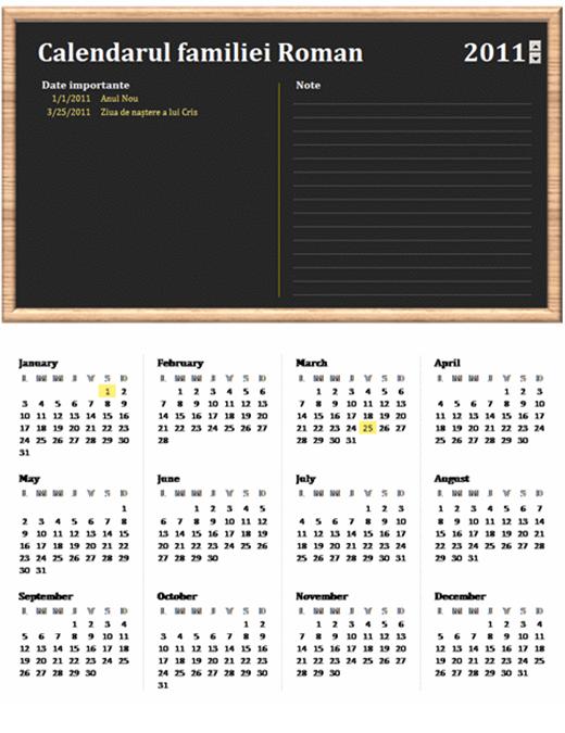Calendar de familie (orice an, luni-duminică)