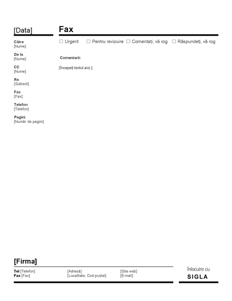 Pagină de însoțire fax pentru firme (Roșu și negru)