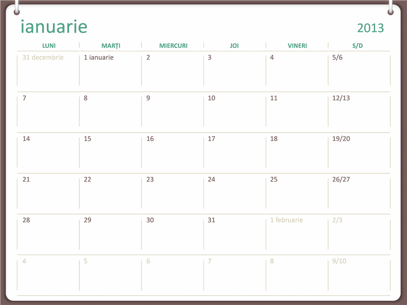 Calendar 2013 - proiect cu două cercuri (L - D)