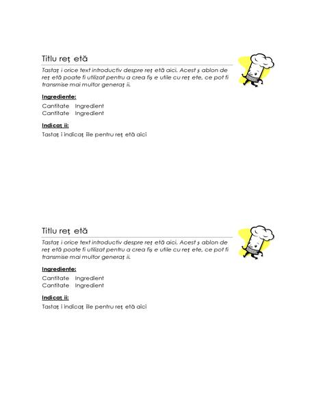 Fișe cu rețete (2 pe pagină)