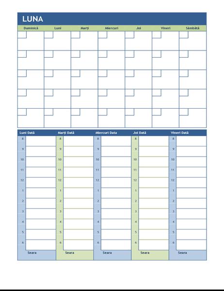 Calendar de planificare lunar și săptămânal