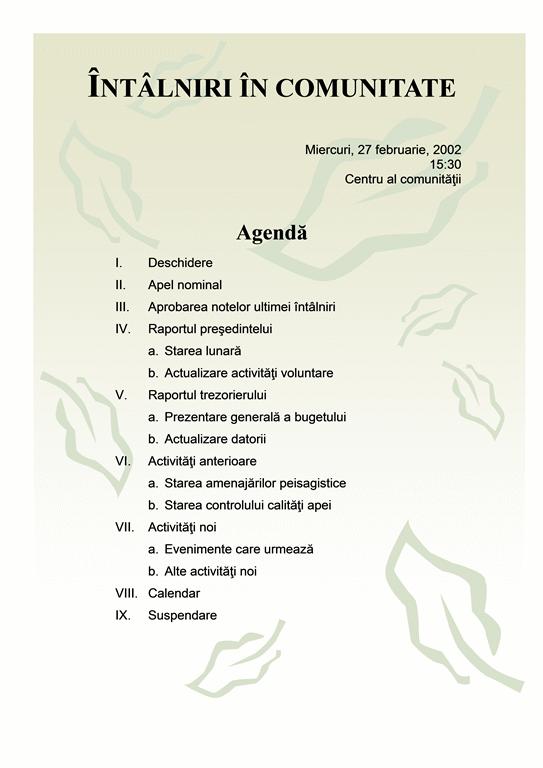 Agendă întâlniri în comunitate