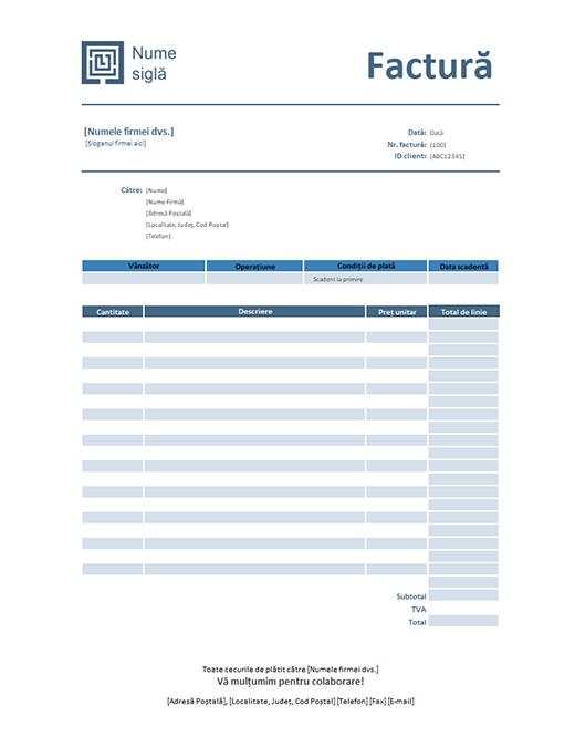 Factură servicii (design albastru simplu)