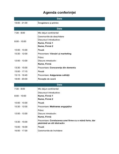 Agendă de conferință