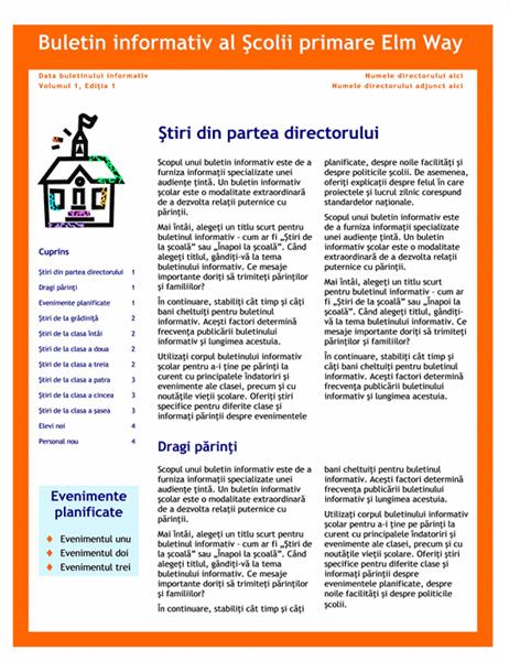 Buletin informativ școlar (3 coloane, 4 pagini)