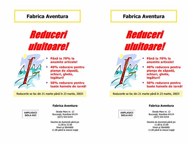 Fluturaș anunțare reduceri (8 1/2 x 11, 2-elemente, 2 pe pagină)