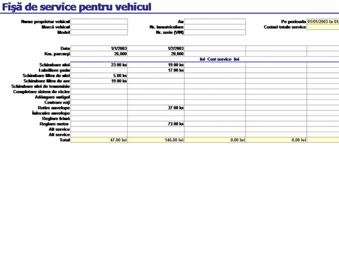 Fișă de service pentru vehicul