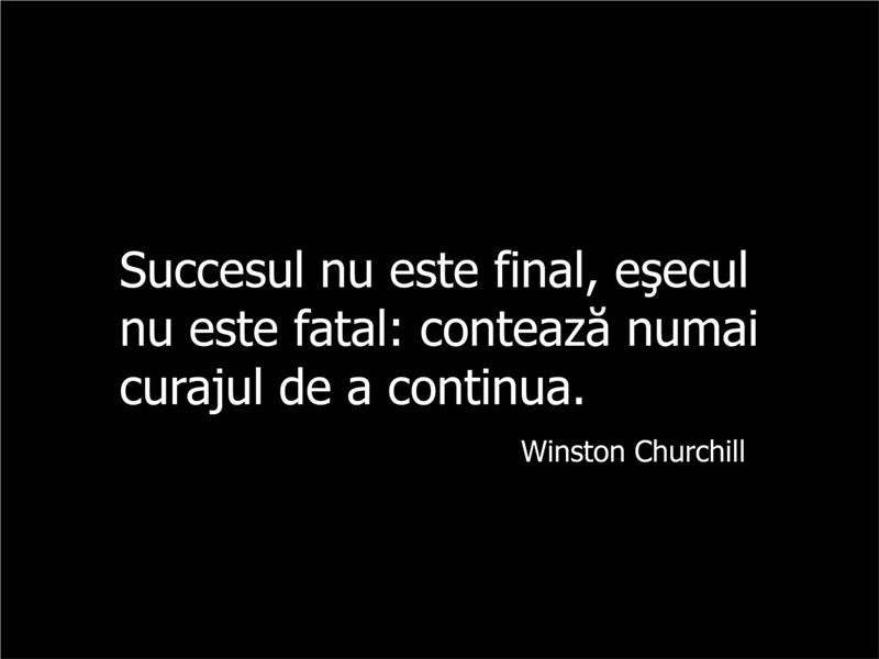 Diapozitiv cu citat din Winston Churchill