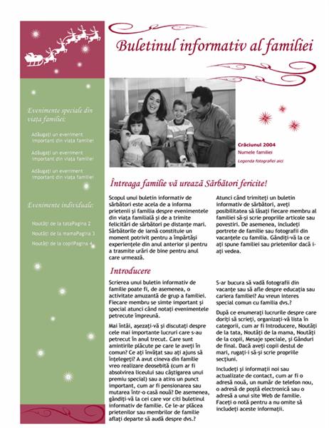 Buletin informativ de sărbători (cu Moș Crăciun cu sanie și ren)