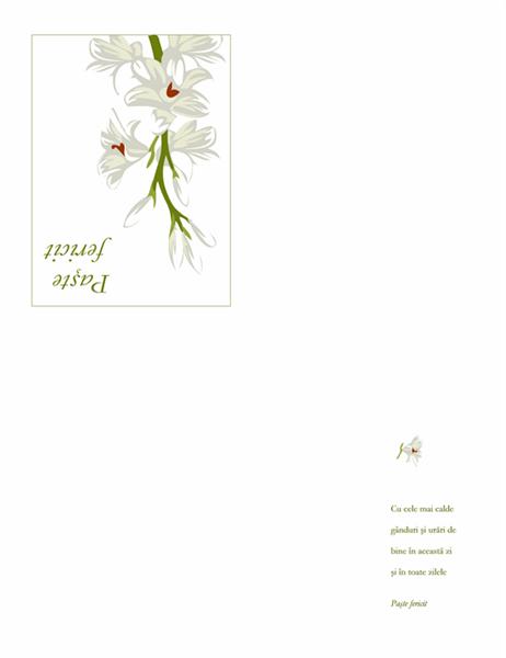 Felicitare de Paște (cu flori)